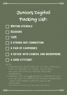 Juniors packing list