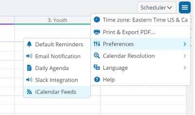 Screenshot of calendar menu options