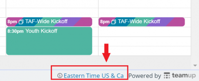 Calendar time zone located in the bottom right